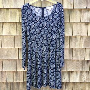 Michael Kors Blue Paisley Print A-line Dress